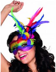 Veelkleurig Venetiaans masker met veren voor volwassenen