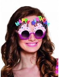 Roze Happy Birthday bril voor volwassenen