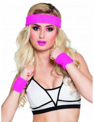 Roze zweetbandjes set voor volwassenen