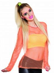 Fluo oranje jaren 80 kostuum voor vrouwen