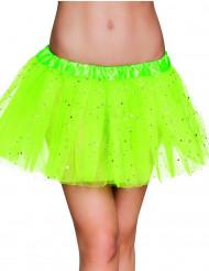 Fluo groene tutu met sterren voor dames