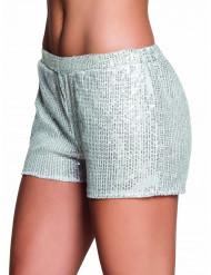 Zilverkleurige short met lovertjes voor vrouwen