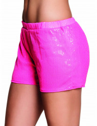 Fluo roze short met lovertjes voor vrouwen