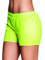 Fluo gele short met lovertjes voor vrouwen