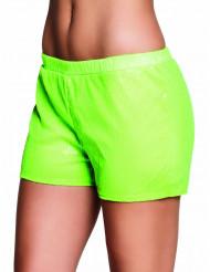 Fluo groene lovertjes short voor vrouwen