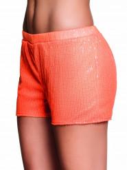 Fluo oranje short met lovertjes voor vrouwen