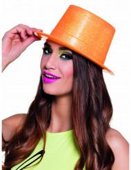 Fluo oranje hoge hoed met pailletten voor volwassenen