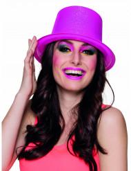 Hoge roze hoed met glitters voor volwassenen