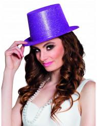 Hoge hoed met paarse glitters voor volwassenen