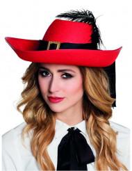 Rode musketier hoed voor volwassenen