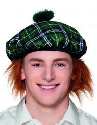 Groene Schotse baret met haren voor volwassenen