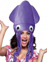 Paarse pluche octopus hoed voor volwassenen