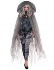 Grijze duistere spook cape van tule voor vrouwen