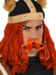 Oranje viking snor voor volwassenen
