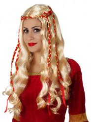 Lange blonde pruik met rode linten voor vrouwen