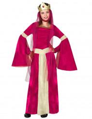 Roze en goudkleurig koningin kostuum voor meisjes