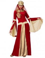 Rood met goud middeleeuws kostuum voor vrouwen