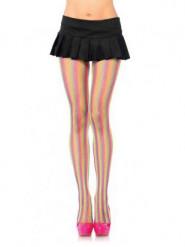Gestreepte panty's voor vrouwen in fluo kleuren