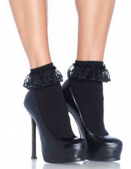 Zwarte sokjes met kant voor dames