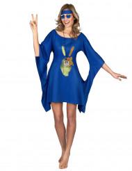 Blauwe seventies hippie jurk voor vrouwen