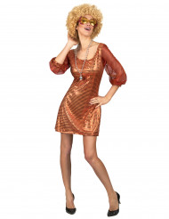 Oranje glitter disco outfit voor dames