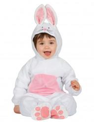 Wit met roze konijnenkostuum voor baby