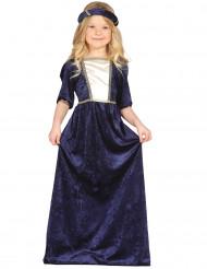 Blauw middeleuwse prinses kostuum voor meisjes