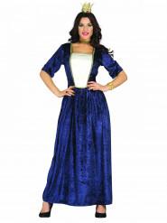 Blauwe middeleeuwse dame kostuum voor vrouwen
