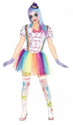 Kleurrijke vlekken clownskostuum voor vrouwen