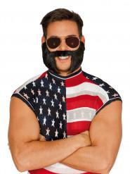 Zwarte nepsnor en baard voor volwassenen