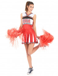 Rood USA cheerleader kostuum voor vrouwen