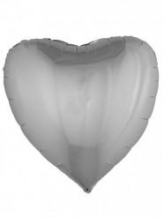Zilverkleurig hart ballon 76 cm