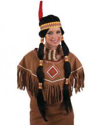 Lange zwarte indiaanse pruik voor vrouwen