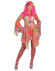 Veelkleurige psychedelische hippie jurk voor vrouwen