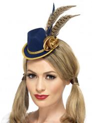 Blauwe en goudkleurige hoed met veren voor vrouwen