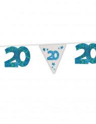 Blauwe 20 jaar verjaardagsslinger