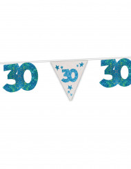 Blauwe glinsterende verjaardagsslinger 30 jaar