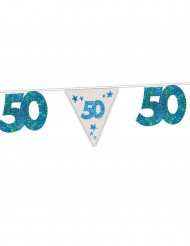 Blauwe verjaardagsslinger 50 jaar