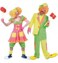 Fluo clown koppelkostuum met stippen voor volwassenen