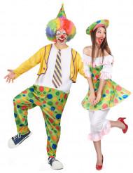 Clown koppelkostuum met stippen voor volwassenen