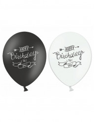 6 zwart wit Happy Birthday ballonen