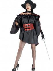 Zwart en rood bandiet kostuum voor vrouwen