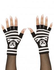 Vingerloze handschoenen met doodshoofd