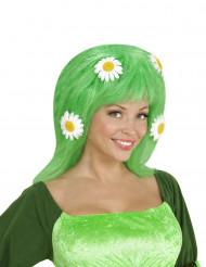 Groene pruik met bloemen voor vrouwen