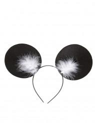 Muizenoren met veren haarband voor volwassenen