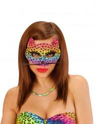 Veelkleurige luipaard half masker voor vrouwen