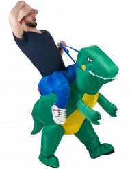 Opblaasbaar man op dinosaurusrug kostuum voor volwassenen