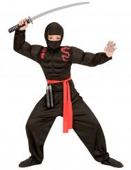Zwart gespierd ninja kostuum voor jongens