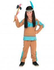 Bruin en blauw indianenkostuum voor jongens