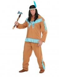 Bruin en blauw indianenkostuum voor mannen